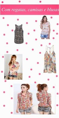 Camisas, blusas e regatas com estampa floral